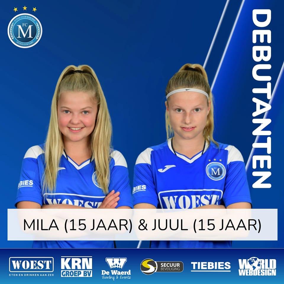 Mila en Juul debuteren in FC Marène VR1