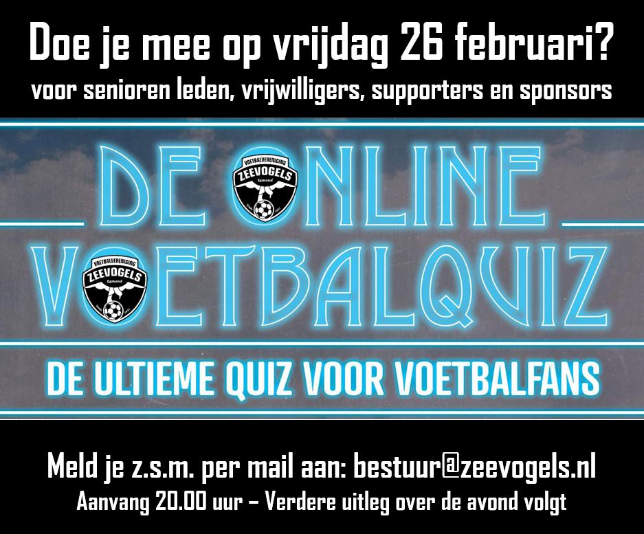 Uitnodiging voor DE ZEEVOGELS ONLINE VOETBALQUIZ op vrijdag 26 februari